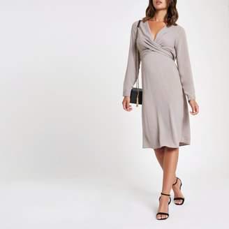 River Island Womens Grey wrap V neck midi dress