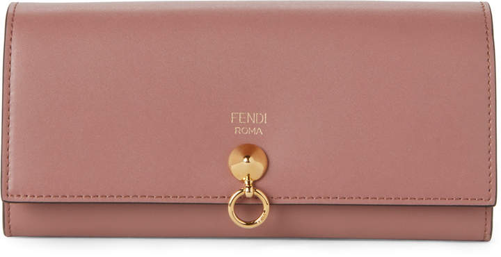 Fendi English Rose ABClick Leather Chain Wallet