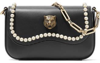 Broadway Mini Embellished Leather Shoulder Bag - Black