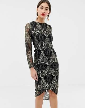 Girls On Film lace bodycon midi dress