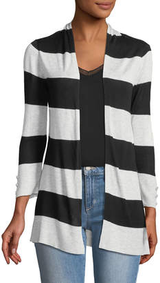 Neiman Marcus 3/4-Sleeve Striped Open-Front Cardigan