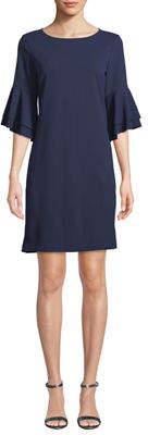Neiman Marcus Tiered-Flare Sleeve Shift Dress