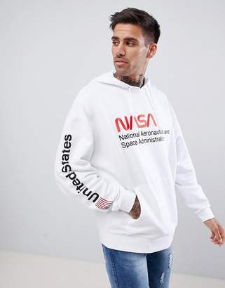 Asos Design DESIGN Oversized Hoodie With Nasa Text Print In White