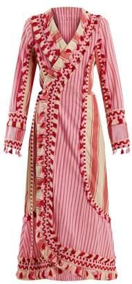 Dodo Bar Or - Miranda Embroidered Striped Cotton Wrap Dress - Womens - Red Multi