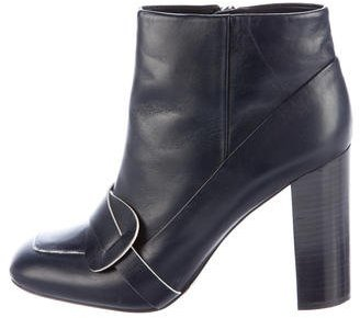 Tory Burch Tory Burch Square-Toe Leather Ankle Boots