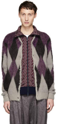 Needles Grey and Purple Mohair Diamond Cardigan