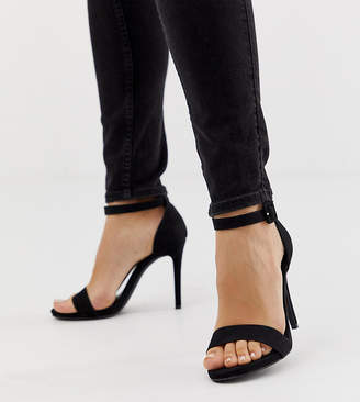 New Look Wide Fit wide fit heeled sandal in black