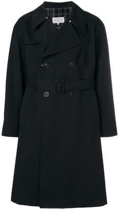 Maison Margiela plaid back double breasted trench coat
