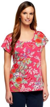 Isaac Mizrahi Live! Floral Printed Scoop Neck T-Shirt