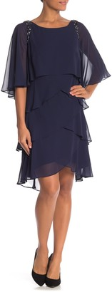 Sl Fashions Bead Shoulder Attached Cape Dress