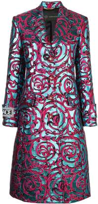 Versace botanical embroidered coat