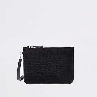 River Island Black leather croc embossed mini pouch bag