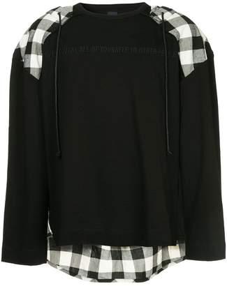 Juun.J panelled hoodie