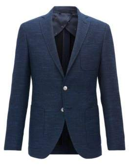 BOSS Hugo Yarn-Dyed Wool Blend Sport Coat, Extra Slim Fit Raye 44R Open Blue