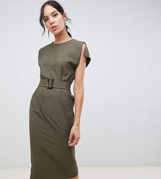 Asos Tall DESIGN Tall split cap sleeve midi pencil dress with buckle