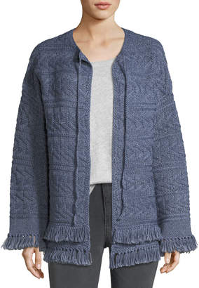 Current/Elliott The Cable-Knit Chevron Cotton Sweater w/ Fringe
