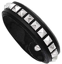 Steel by Design Stainless Steel Adjustable Black Leather Stud B