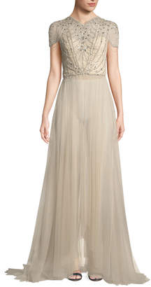 Jenny Packham Cap-Sleeve Embellished-Bodice Tulle Evening Gown