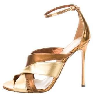 Sergio Rossi Metallic Multistrap Sandals