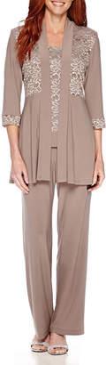 R & M Richards R&M Richards 3/4 Sleeve Lace Jacket Pant Suit Set