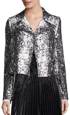 Diane von Furstenberg Joneva Splatter-Print Leather Moto Jacket