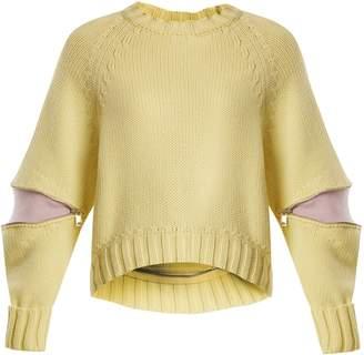Alexander McQueen Zipped-sleeve wool sweater