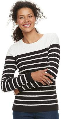 Croft & Barrow Women's Classic Cable-Knit Crewneck Sweater