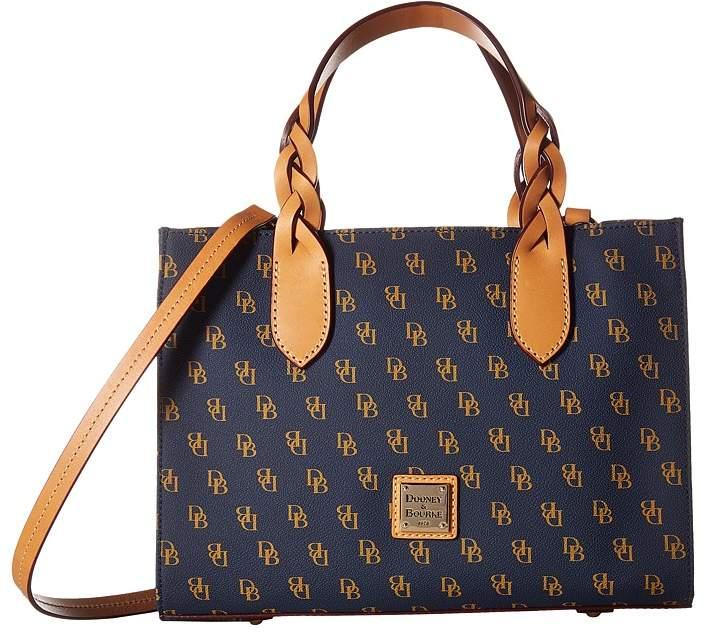 Dooney & Bourke Blakely Gia Satchel Satchel Handbags - NAVY/WHITE/BTRSCTCH TRIM - STYLE