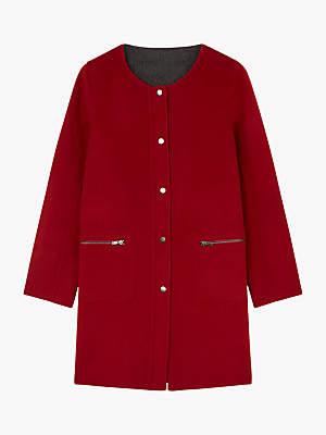 Gerard Darel Boat Neck Button Up Macy Coat, Ruby/Multi