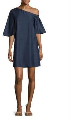 Tibi Cotton Dark Denim One-Shoulder Dress