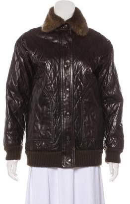 1d4b83197da Saint Laurent Fur-Trimmed Leather Jacket
