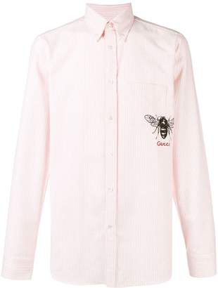 Gucci striped bee embroidered buttondown shirt