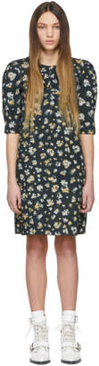 See by Chloe Green and Multicolor Ruched Sleeve Dress