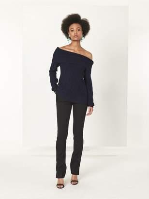 Oscar de la Renta Black Stretch-Wool Gabardine Skinny Pants