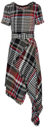 Oscar de la Renta - Asymmetric Fringed Checked Cotton-blend Tweed Midi Dress - Black