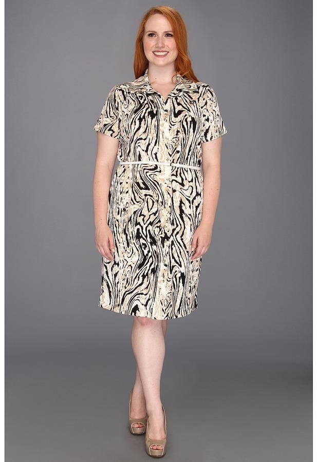 Klein Plus Anne Plus Size Moire Print Dress (Oak Multi) - Apparel