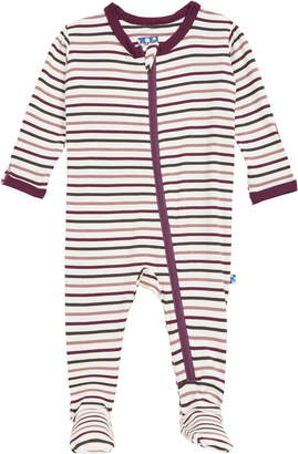 Kickee Pants Stripe Zip Footie