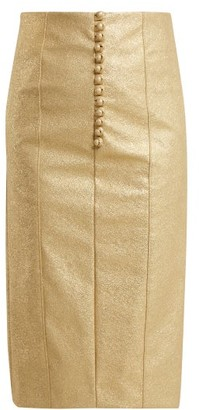 Hillier Bartley Metallic Buttoned Faux Leather Pencil Skirt - Womens - Gold