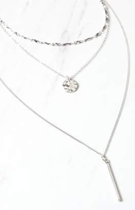 LA Hearts Disc & Bar Layered Necklace