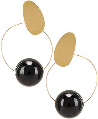 Modern Weaving Orb Hoops in Brass & Black | FWRD