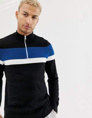 Bershka color block sweater with funnel neck and half zip in black