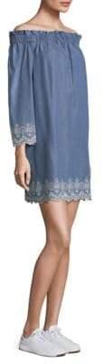 MICHAEL Michael Kors Off-The-Shoulder Eyelet Shift Dress