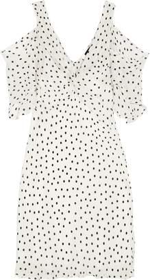 McQ Cold-shoulder Polka-dot Georgette Mini Dress