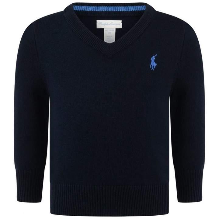 Ralph LaurenBaby Boys Navy V Neck Sweater