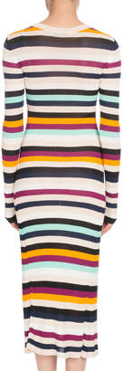 Altuzarra Crewneck Long-Sleeve Striped Ribbed Sweaterdress