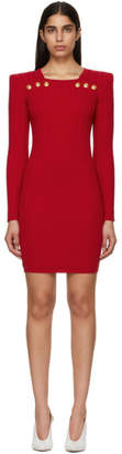 Balmain Red Buttoned Rib Knit Mini Dress
