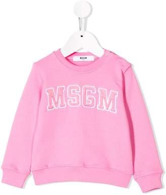 MSGM Kids logo embroidered sweatshirt