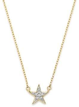 "Adina 14K Yellow Gold Pavé Diamond Star Necklace, 15"""