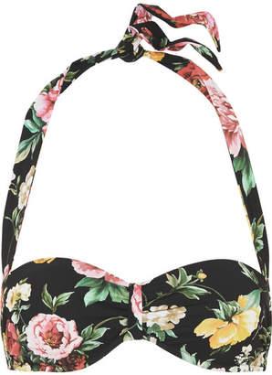Dolce & Gabbana Floral-print Halterneck Bikini Top - Black