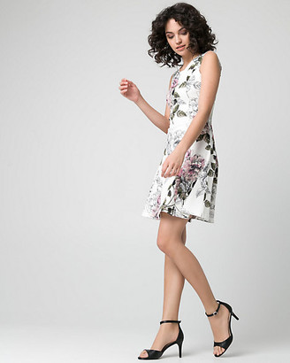 Le Château Floral Print Textured Knit Crew Neck Dress